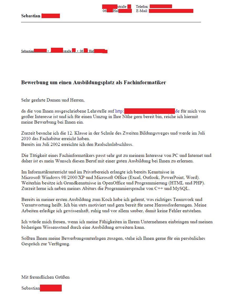 Bewerbungsschreiben Für Ausbildung Jobsuche Bewerbung Und